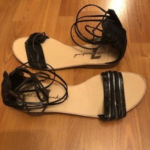 7 for all mankind black beaded sandals